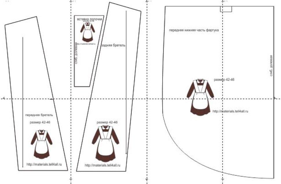 b6d9f1167 Выкройка школьного фартука может быть взята из журнала с уже подогнанными  под стандарт размерами.