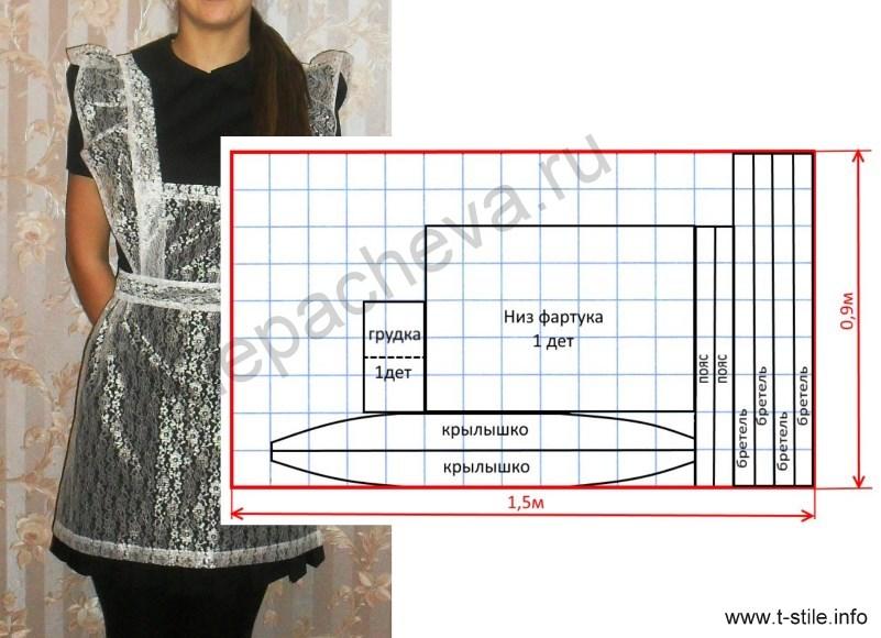 ff9ec4e7e Школьный фартук своими руками: выкройка, описание, видео мк, фото